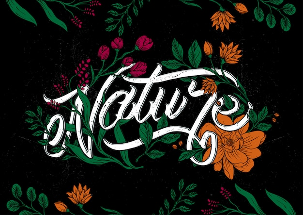 Nature typography vintage