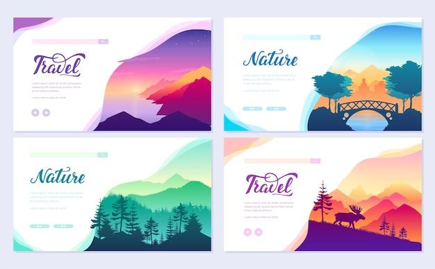 Nature vector brochure cards set