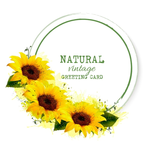 Поздравительная открытка природы винтажная с желтыми подсолнухами. вектор.