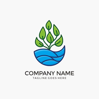 Nature water logo design  with green plant.
