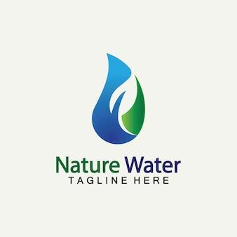 자연 물 로고 벡터 아이콘 그림 디자인 템플릿입니다. 생태 로고입니다. 물 방울 잎 로고입니다. 물 방울 디자인 서식 파일 벡터 일러스트 레이 션