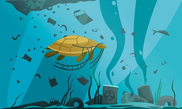 수중 풍경과 흙과 쓰레기 입자를 헤엄 치는 거북이가있는 자연 수질 오염 조성