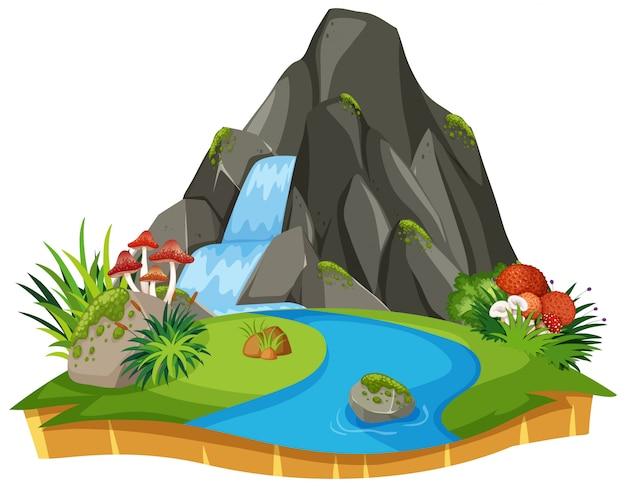 Nature waterfall isolated scene
