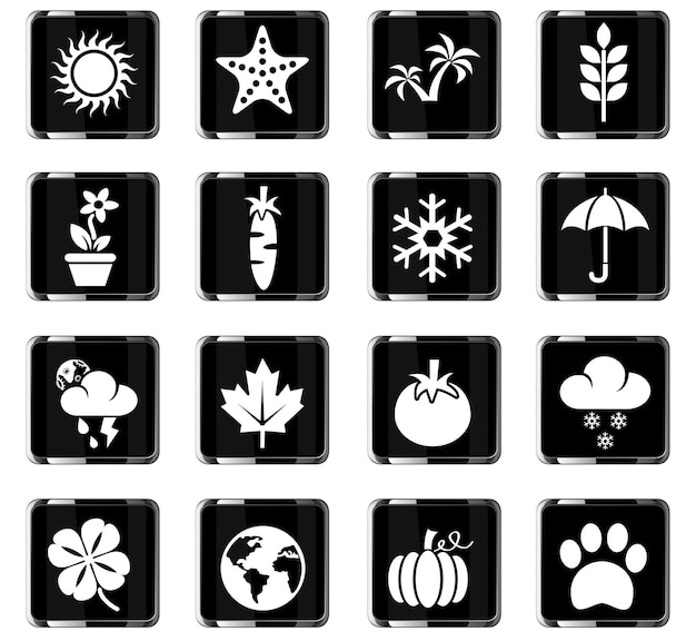 Nature web icons for user interface design