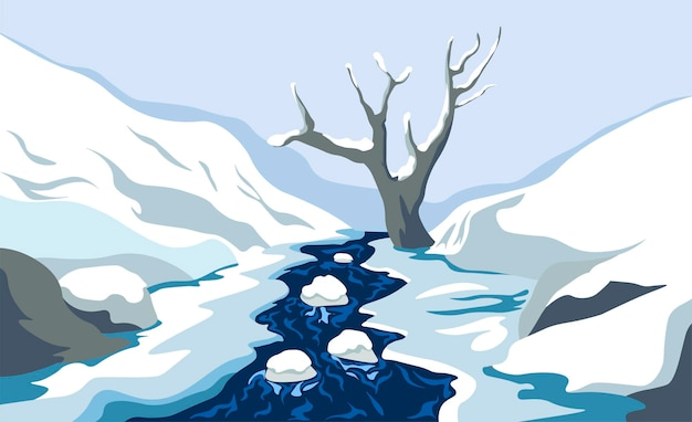 Nature and wilderness of cold season, winter landscape with flowing river or pond with ice and stones. lonely dry tree and hills, mountains ranges or slopes in distance. vector in flat style