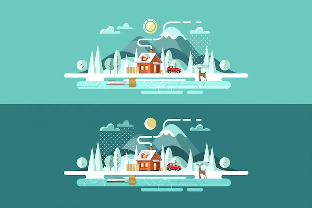自然。冬の風景です。フラットなデザインスタイルのイラスト。