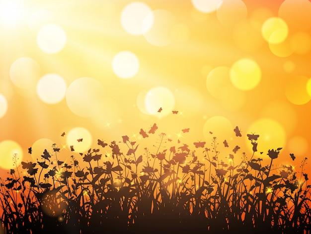 Природа с полевыми цветами и бабочками на оранжевом размытом фоне
