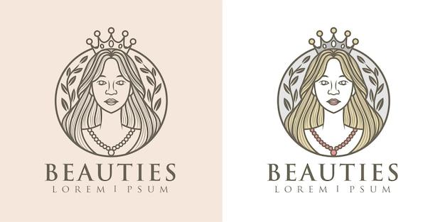 自然の女性の女王のロゴのテンプレート