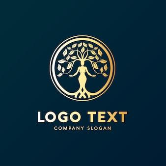 Природа женщины с логотипом головы дерева