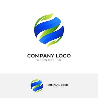 자연 세계 로고, 지구 및 잎, 3d 파란색 및 녹색 색상 스타일의 조합 로고