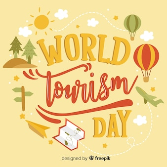 Nature world tourism day lettering