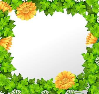 自然の黄色い花のボーダー