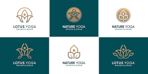 Коллекция логотипов природной йоги с уникальной концепцией premium векторы
