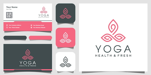 Nature yoga logo design inspiration with line art style.  and business card.