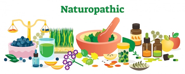 Naturopathic health concept elements