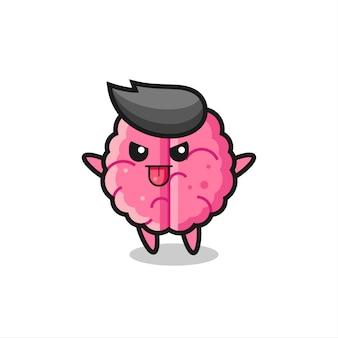 조롱 포즈의 장난 꾸러기 두뇌 캐릭터, 티셔츠, 스티커, 로고 요소를 위한 귀여운 스타일 디자인