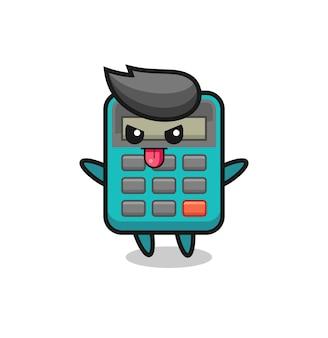 いたずらな電卓のキャラクターをあざけるポーズ、tシャツ、ステッカー、ロゴ要素のかわいいスタイルのデザイン