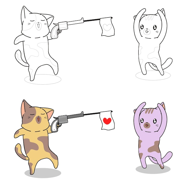Naughty cat with gun coloring page for kids