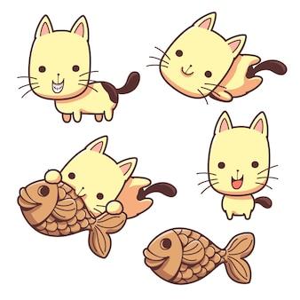 장난 꾸러기 고양이와 붕어빵 간식