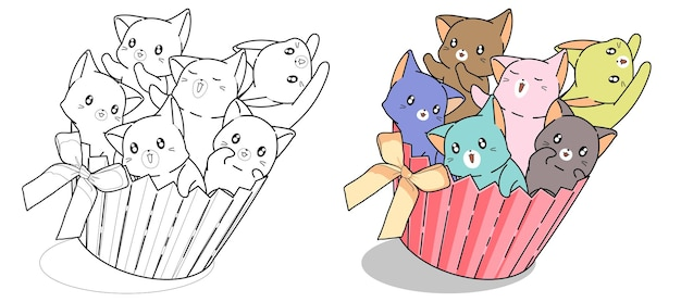 Naughty cats in cup cake with bow cartoon coloring page for kids