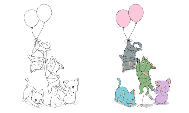Naughty cats with balloons coloring page for kids