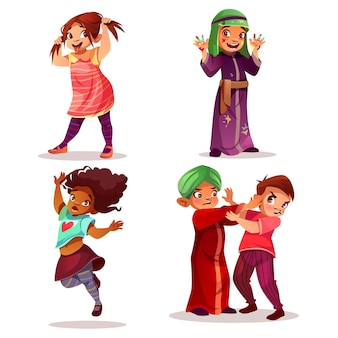 Naughty children illustration of kids mischief and misbehavior.