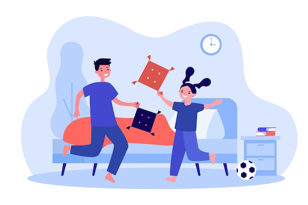 Naughty children in pillow fight at home. game battle between mischievous kids flat vector illustration. child discipline, active home play concept for banner, website design or landing web page