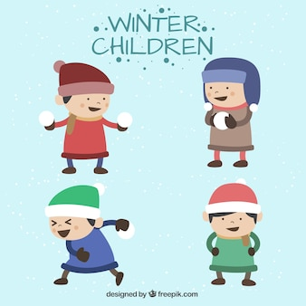 Naughty children wearing winter clothes