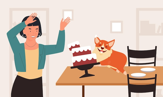 Naughty dog behavior problem pet owner woman in shock funny puppy running on table