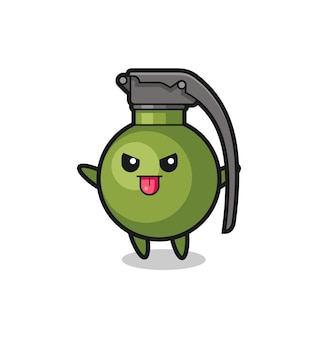 Naughty grenade character in mocking pose , cute style design for t shirt, sticker, logo element