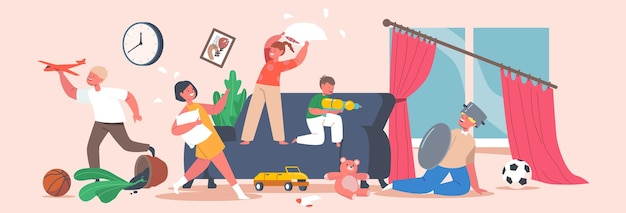 Naughty hyperactive children fighting. little girls and boys playing, making mess in room. kids fooling and fight on pillows. game, quarrel, bad behaviour, chaos. cartoon people vector illustration