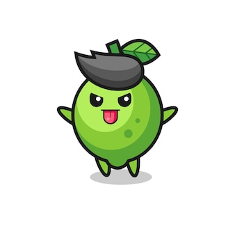 Naughty lime character in mocking pose , cute style design for t shirt, sticker, logo element