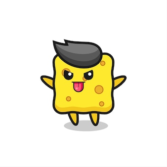 Naughty sponge character in mocking pose , cute style design for t shirt, sticker, logo element