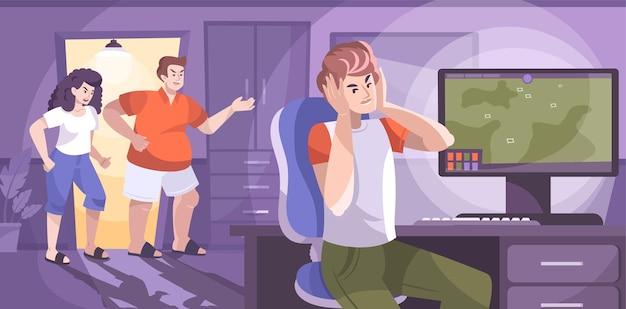 Непослушная подростковая плоская композиция с компьютером-пейзажем в помещении и родителями, спорящими с сыном-подростком
