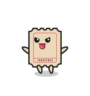 조롱 포즈의 장난 꾸러기 티켓 캐릭터, 티셔츠, 스티커, 로고 요소를 위한 귀여운 스타일 디자인