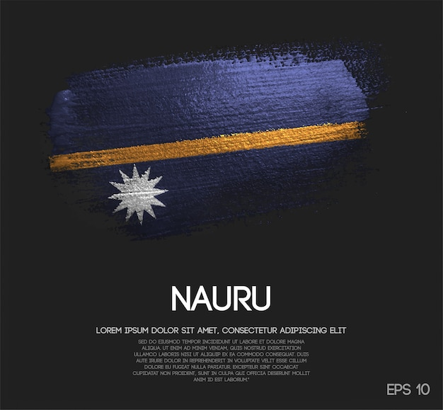 Nauru flag made of glitter sparkle brush paint