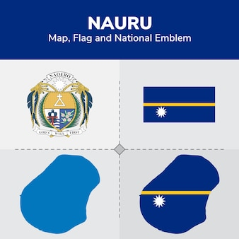 Nauru map, flag and national emblem