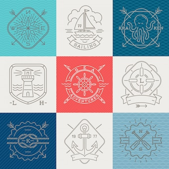Nautical, adventures and travel emblems signs and labels - line drawing  illustration