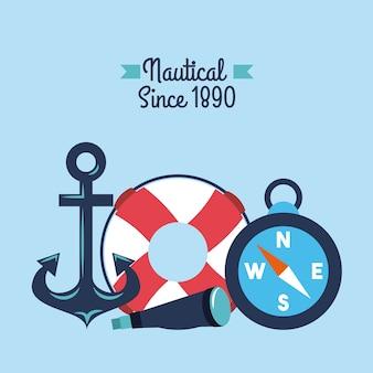 Nautical anchor lifebouy spyglass compass symbols
