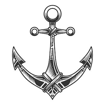 Nautical anchor , monochrome retro style illustration. isolated on white background.