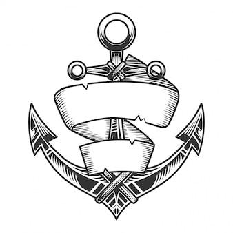 リボン付き航海アンカー、モノクロのレトロなスタイルのイメージ。白で隔離