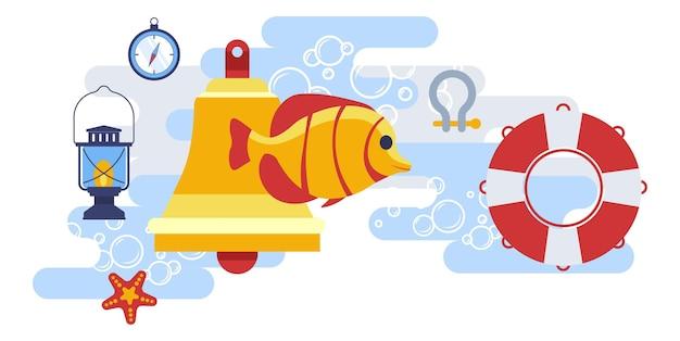 Морская и морская рыба со спасательным кругом