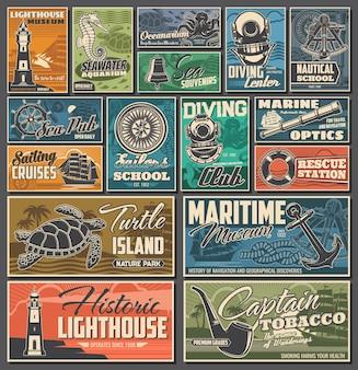 해상 및 해양 빈티지 포스터입니다. 다이빙 클럽, 해양 역사 박물관 및 구조 스테이션, 세일링 크루즈, 해양 수족관 및 거북이 섬 자연 공원, 해상 학교 복고풍 배너
