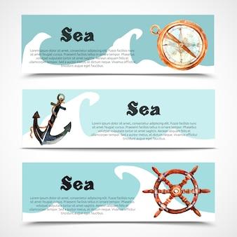 항해와 바다 가로 배너 세트