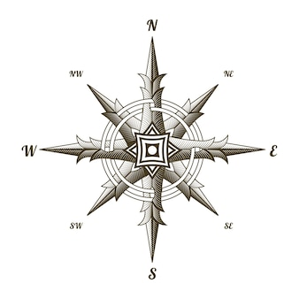 Nautical antique compass sign isolated on white