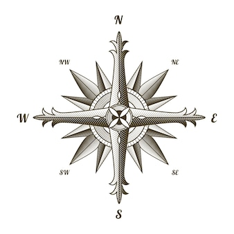 Nautical antique compass sign. old design element for marine theme and heraldry on white background. vintage wind rose label emblem.