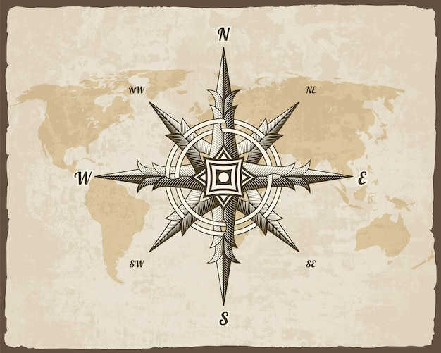 Nautical antique compass sign on old paper texture world map with torn border frame.