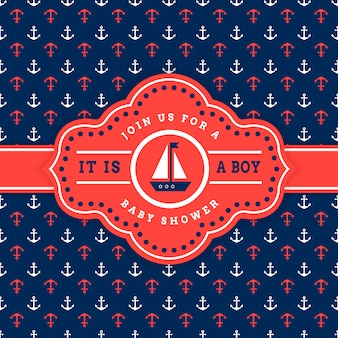 Nautical baby shower invitation card template