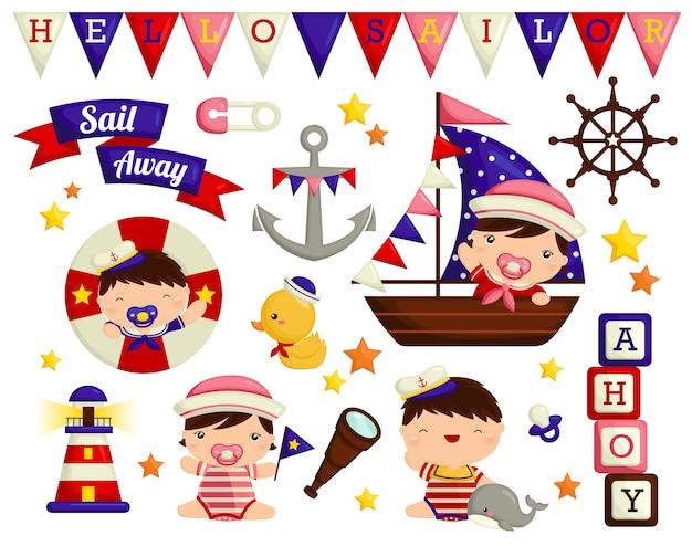 Nautical baby vector set