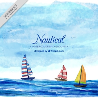 Nautical background with boats, watercolors